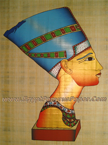 Mask of Nefertiti Papyrus Painting - (20X30 cm)