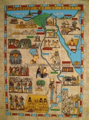 The Map Of Egypt Papyrus Painting - (20X30 cm)
