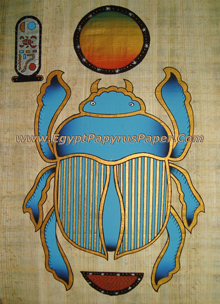 Egyptian Papyrus Paper Painting Scarab For Good Luck / Happiness  - (20X30 cm)