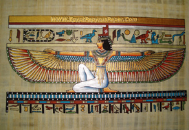 The winged Isis Egyptian Papyrus Painting  - (20X30 cm)