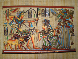 King Tutankhamen in his chariot to hunt the birds Papyrus Painting - (20X30 cm)